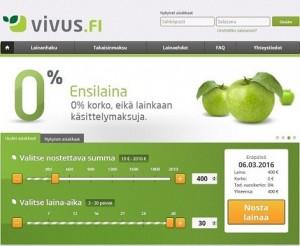 vivus.fi on satavarma suomalainen vippaaja ja siltä aina ensimmäinen laina ilmaiseksi 0% korolla ilman käsittelykuluja