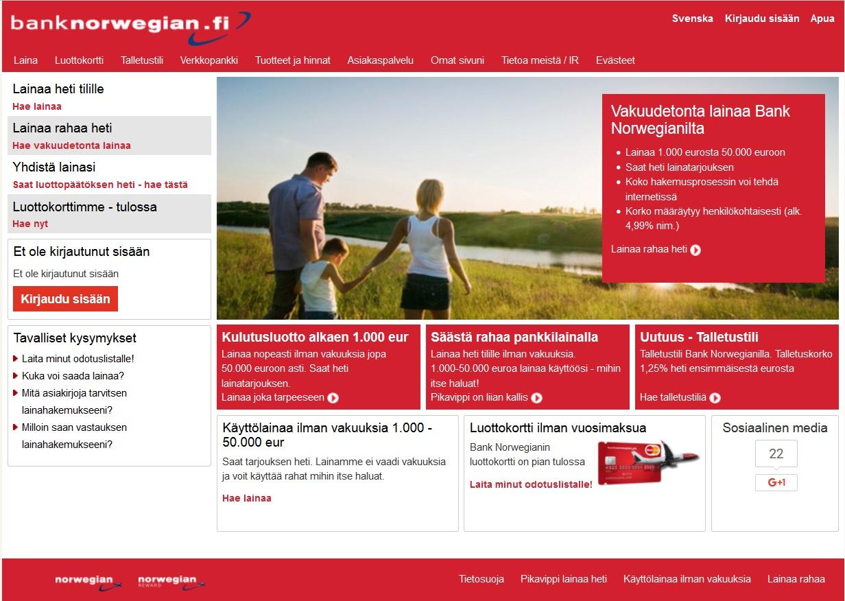 kokemukset bank norwegian finlandin nettisivusta ja palvelusta yleensäkin yllättävät positiivisesti kaikki jotka ovat joskus olleet tekemisissä lainapalveluiden kanssa