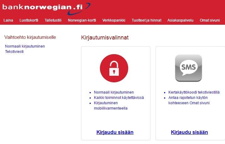 Norwegian pankki on aidosti oikea ja turvallinen legasiloitu verkkopankki