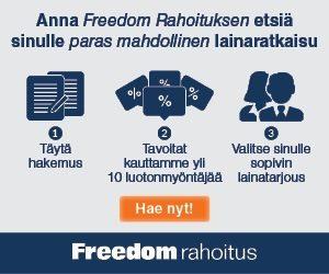 Freedom Rahoitus etsii parhaat lainat käsiinsä ja tarjoaa niitä sinulle 50.000€ saakka!