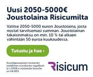 Risicum joustoluottopalvelusta saat haettua lainaa sattuman varalle fleksisti netistä 24/7 ilman vakuuksia ja takaajia!