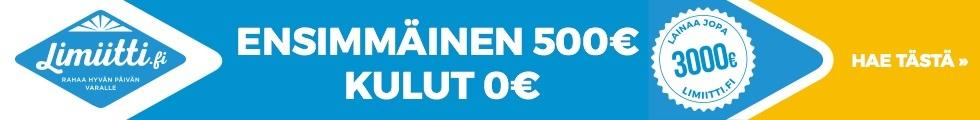 Limiitti.fi - ensimmänen laina 500 € - kulut 0 €
