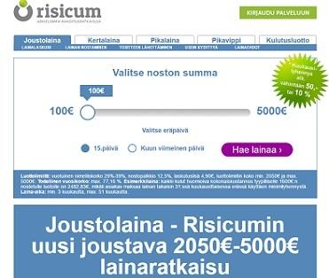 risicum lainaa netistä joustoluottoa ja kertalainaa.