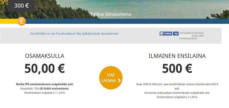 Saat kuluttoman ensiluoton 500 euroon asti 30 päivän maksuajalla!