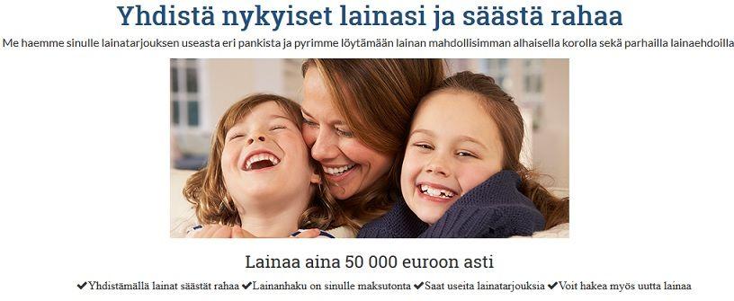 Yhdistä nykyiset luotot ja vipit ja säästä selviä euroja.