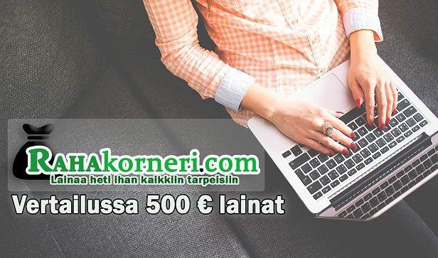 Lainaa 500 euroa kulutusluoton tai pikavipin muodossa heti tilille
