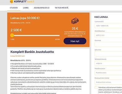 Komplett Bank on uusi nettipankki, joka myöntää nopeaa lainaa pitkällä maksuajalla.