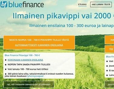 Bluefinance on parantunut joustoluotto tai kuluton pikalaina 300 euroon saakka 18-vuotiaalle.