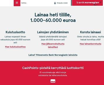 bank norwegian suomi on uusi listautuja verkkolainamarkkinoilla ja sitä kautta on tarjolla halpaa lainaa ilman vakuuksia nopeasti